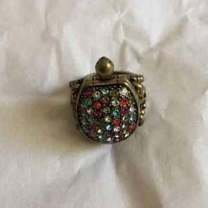 Fossil Jewelry - Fossil Turtle Locket Statement Ring NWOT